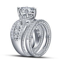 925 Silver 14k White Gold FN. Bridal Engagement Ring Set Round Simulated Diamond - $89.87