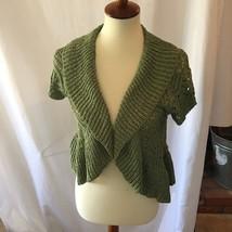 Dress Barn Medium Sparkle & Green  Crochet Knit Cropped Cardigan Shrug Mint - $13.10