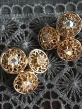 1950's Signed Coro Clip Earrings With Aurora Borealis Stones: Stunning ! - $24.75