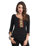 Ira Soleil black viscose knitted stretchable lace 3 4 sleeves short wome... - $49.99
