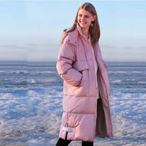 Women's Thick 90 % White Duck Down Solid Quilted Long Winter Coat image 3