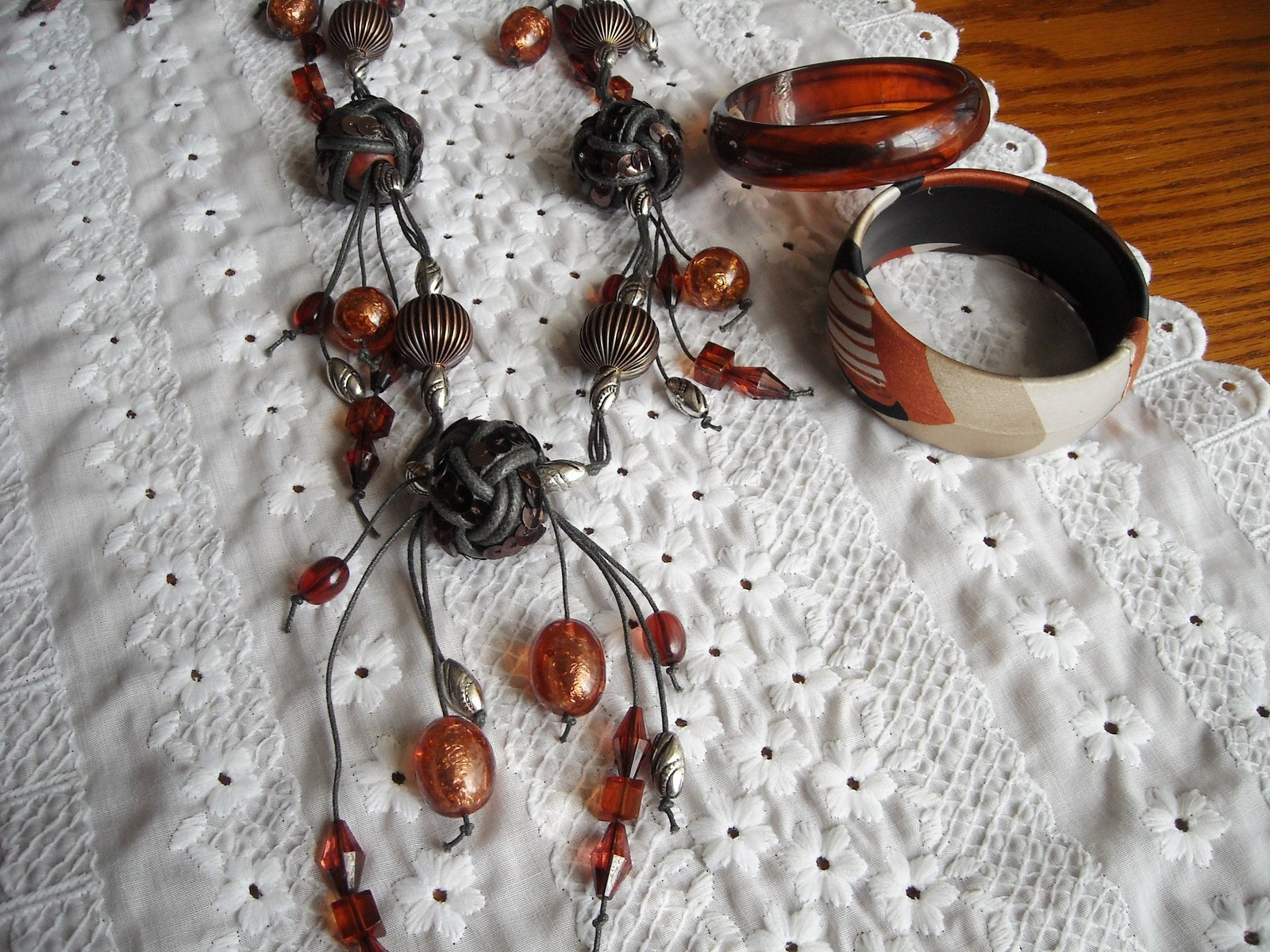 Vintage BOHO Baubles & Beads Necklace Earrings Bracelets Amber Rust Copper