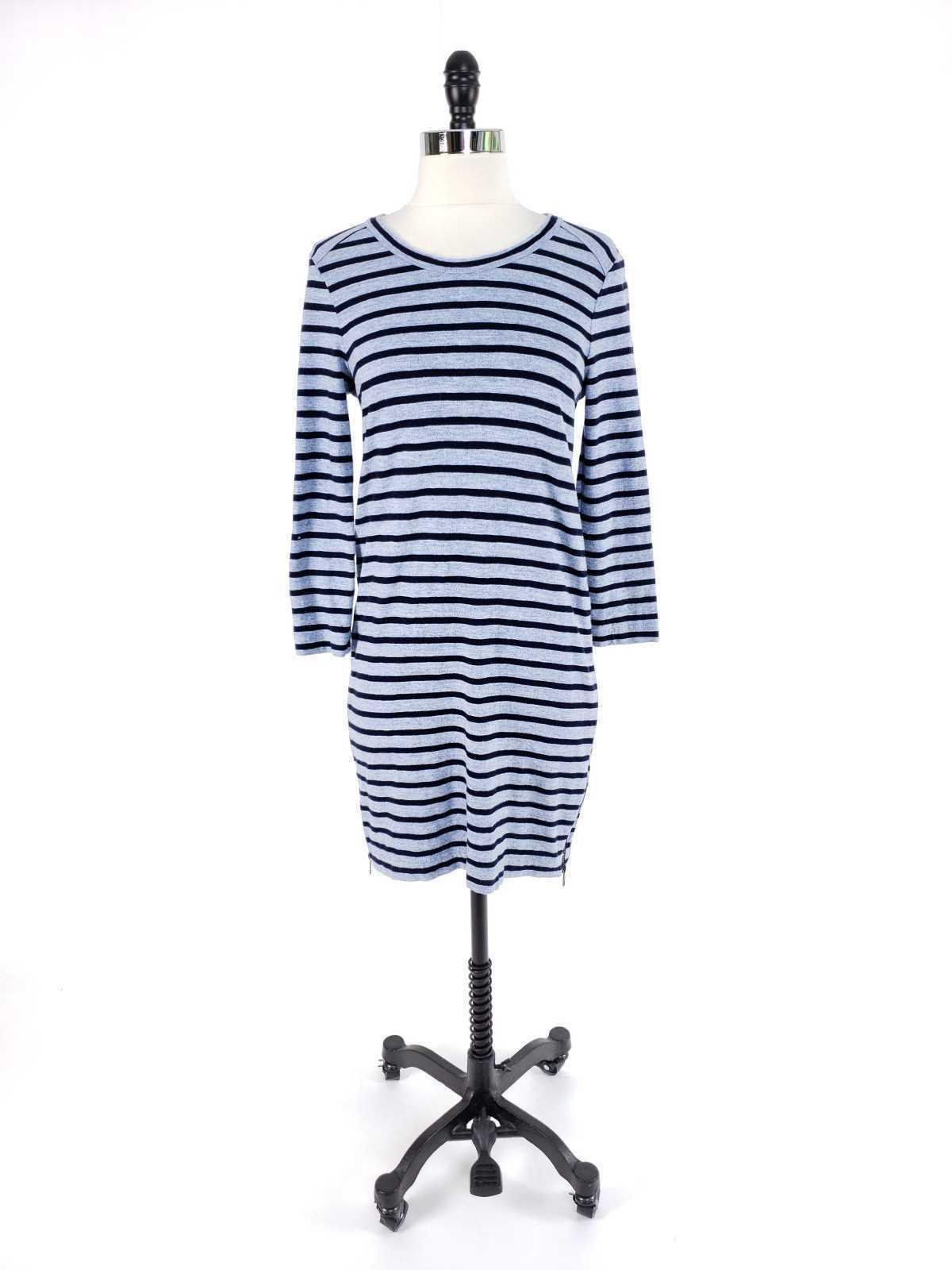 J.Crew Women XS Dress Striped Side Zip Tshirt Cotton Long Sleeve Casual