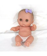 Berenguer Baby Doll Lil Cutesies Girl Brown Eyes Purple Bow 8 inch with ... - $12.86