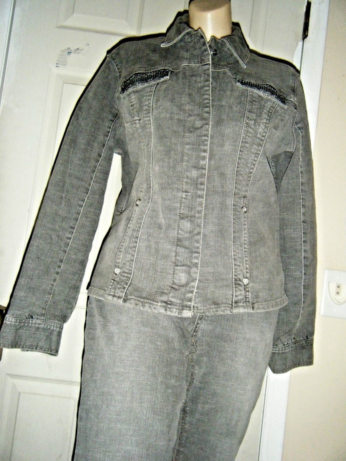 Primary image for CHIC0'S STRETCH EMBELLISHED GRAY DENIM JEAN JACKET & PANTS SIZE CHICO'S 1 & 0