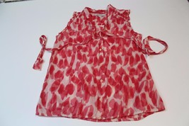 W11930 Womens ANN TAYLOR LOFT cotton pink/white sleeveless tie-neck BLOUSE, S - $28.97