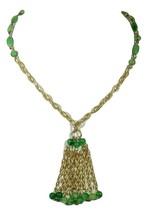 Jade Green Tassel Necklace Hong Kong Waterfall Long Thermoplastic Beads ... - $3.00