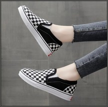 Checkered Black and White Casual Slip On Flat Canvas Sneaker Loafers image 2