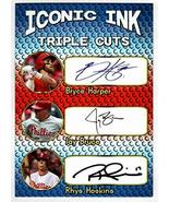 Bryce Harper - Jay Bruce - Rhys Hoskins Iconic Ink Triple Cuts Signature... - $12.82