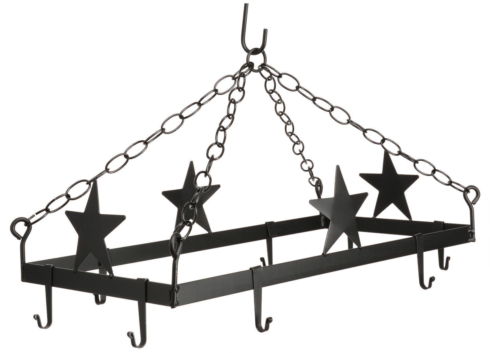 Primary image for COUNTRY STARS POT & PAN RACK Hanging Wrought Iron w/ 8 Scroll Hooks AMISH USA