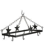 COUNTRY STARS POT & PAN RACK Hanging Wrought Iron w/ 8 Scroll Hooks AMIS... - $108.87