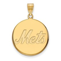 14K Yellow Gold New York Mets Large Disc Pendant - $475.99