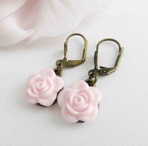 Small pale pink flower earrings, children's jewelry, flower girl earrings - $5.45