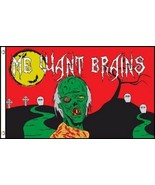 """ZOMBIE 3X5' FLAG BANNER HALLOWEEN """"ME WANT BRAINS"""" NEW IN PACKAGE ZOMBIE... - $7.39"""