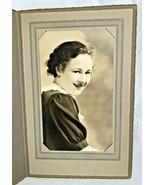 "Vintage Old Studio Photo, Unknown Young Girl 8"" X 4 1/2""...W/ Studio Folder - $5.89"