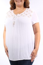 Charter Club Women's White Sequined Beaded Embroidered Tie Top Med - $11.64