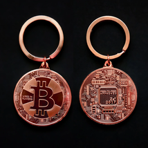 Gold Plated Bitcoin Coin Key Chain BTC Coin Art Collection Design Key Ring Gift image 9