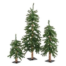Pre-Lit Green Alpine Christmas Trees 2ft 3ft 4ft Wood 3 set Rustic  - $139.99