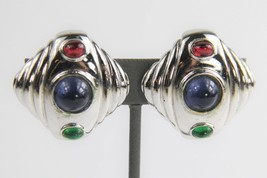 ESTATE VINTAGE Jewelry CINER SILVER SQUARE MOGHUL CABOCHON CLIP EARRINGS  - $55.00
