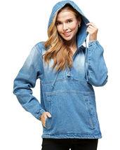 Women's Cotton Casual Hoodie Half Zip Pullover Denim Jean Jacket - M image 4