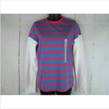 Tommy Jeans Shirt Girls Small Pink/Blue Striped Long Sleeve Stretch (Bra... - $15.87
