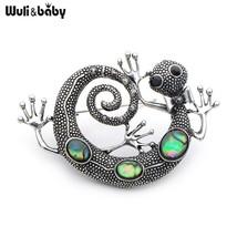 Alloy Natural Gecko Animal Brooches Women Men Kids Rhinestone Banquet Br... - $11.38