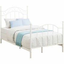 White Twin Size Bed Frame Metal Foundation Headboard Footboard Four Post... - $140.48