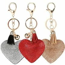 Women Keychain Romantic Love Heart Shaped Rhinestones Tassels Bag Charms... - $8.05
