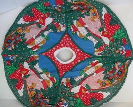 Reversible Christmas Tree Skirt Handcrafted Wreaths Carolers Sleigh Ride - $16.82