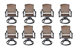 Patio outdoor Furniture Swivel Dining Chair set of ( 8 ) Cast aluminum Bronze image 4