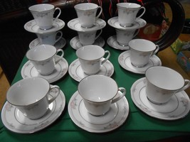 "Beautiful Legendary By Noritake ""Tarkington"" China Set Of 12 Cups & Saucers - $50.30"