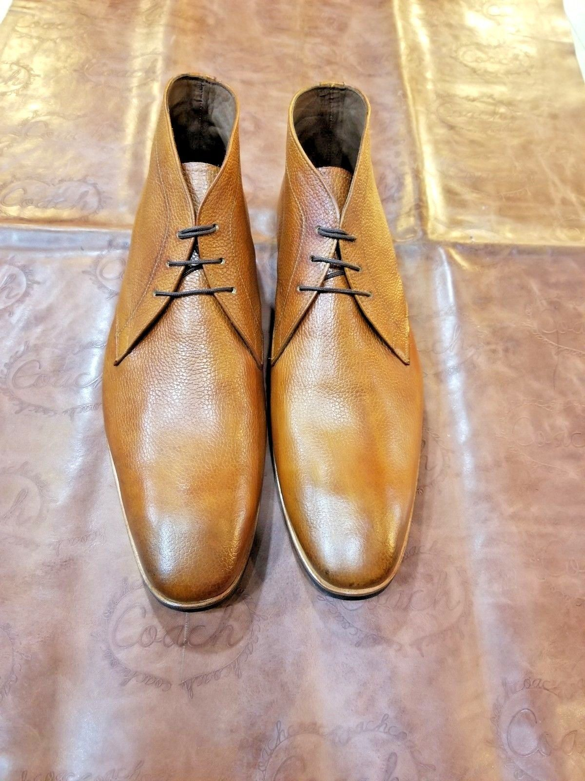 Handmade Men's Brown Leather Chukka Dress/Formal Boots