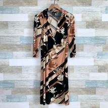 BCBG MaxAzria Faux Wrap Midi Dress Brown Black Floral Stretchy Womens Me... - $44.54