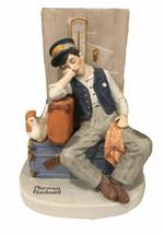 "Norman Rockwell Porcelain Figurines ""ASLEEP ON THE JOB"" 1980 Danbury Mint - $13.86"