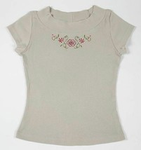 2 HIP GIRLS SIZE M 10 12 RIBBED TOP FLORAL APPLIQUE FLOWERS  SHIRT TOP - $9.89