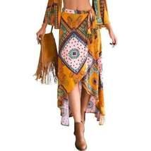 Bohemian Asymmetric Floral Print Women Maxi Skirts - $23.62
