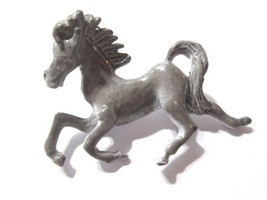 FIGURAL SCATTER PIN GRAY ENAMEL HORSE IN MOTION VINTAGE MID CENTURY  - $24.00