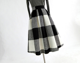 NAVY BLUE PLAID Midi Party Outfit Women Winter Wool Plaid Party Skirt Plus Size image 11