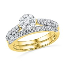 14K Yellow Gold Fn Cz Diamond Bridal Engagement Ring Set For Women's Special - $85.99