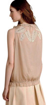$198 Anthropologie Embroidered Taupe Blouse Small 2 4 Sequins Top Shirt GORGEOUS - $41.30