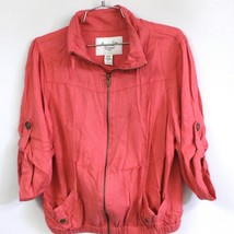American Rag Women's L Coral Red  Zip Up Lightweight Jacket Safari Pocke... - $19.99