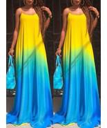 Casual Caftan Maxi Dress - Ombre / Spaghetti Straps - $19.95