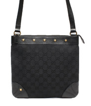 Auth Gucci Shoulder Bag Black OLD Gucci Vintage GG Canvas Zipper Leather... - $342.54