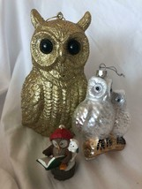 3 Owl Figurines Christmas Set Ornaments Silver and Gold - $39.59