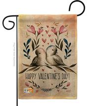 Love Birds Valentines Burlap - Impressions Decorative Garden Flag G13501... - $22.97