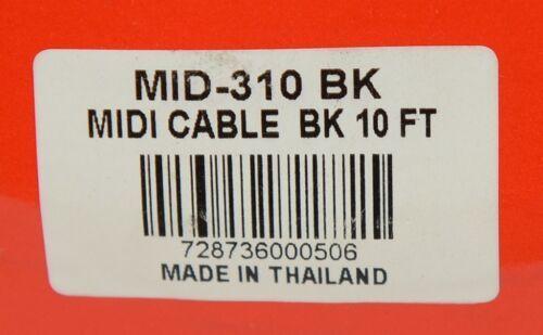 Hosa Technology MID310BK MIDI Cable 5 Pin DIN To Same Ten Feet Long