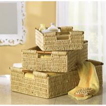Corn Husk Storage Nesting Baskets with Bamboo Handles 3-Piece  - $42.95