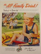 1953 7-up Sailor Boy in baby pool Sailboat Print Ad - $9.99