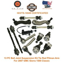 13 PC Ball Joint Suspension Kit Tie Rod Pitman Arm 2007 GMC Sierra 1500 ... - $111.15