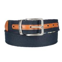 Nautica Men's Reversible Genuine Leather 35MM Madras Fabric Belt Navy 11NU03X025 image 2